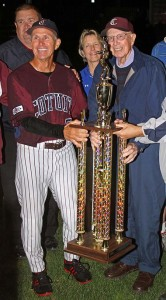 Mike Roberts and Arnold Mycock with 2013 CCBL championship trophy